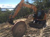 现代挖掘机5T开山锯出售液压花岗岩切割锯